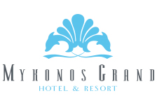 Logo for Mykonos Grand Hotel & Resort, one of the most luxurious hotels on the island.