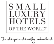 Logo for Small Luxury Hotels of the world. Mykonos Riviera Hotel & Spa is a member of the group.