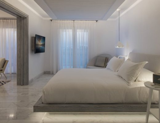 Luxury bedroom next to the sitting room in Mykonos Town luxury Hotel & Spa.