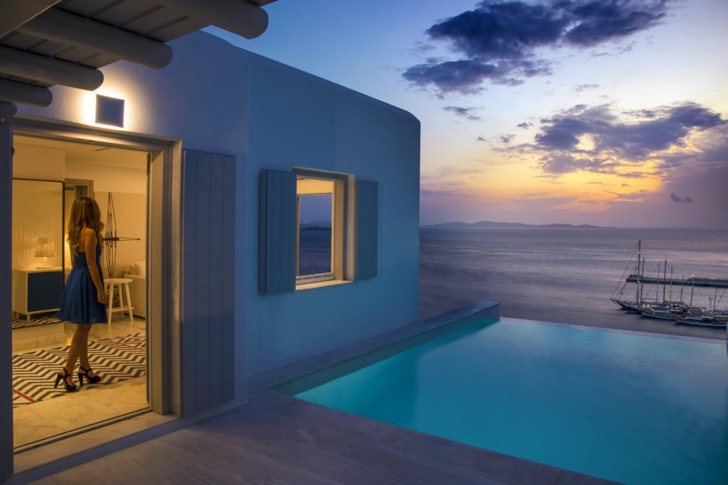 Private pool by the sitting area overlooking the sea in the Secret 3 bedroom maisonette in Mykonos.