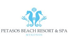 Logo for Petasos Beach Resort and Spa in Mykonos, one of the most luxurious hotels on the island.