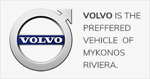 Logo for Volvo, which is the preferred vehicle of Mykonos Riviera Hotel & Spa.